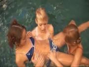 Lesbian teens posing naked in pool
