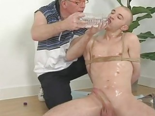 perverted elderly guy and tied bald twink