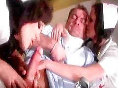 stunning brunette chicks in nurse uniforms lick