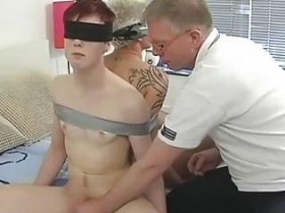 cougar gay daddy ties two randy twinks and suck
