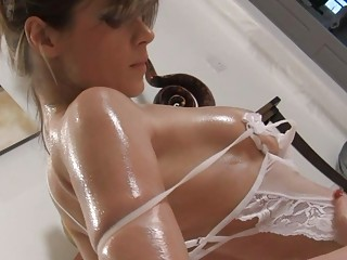 naughty oiled brunette fuckstar into clean
