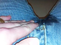 chick pissing in denims and panties, lots of piss