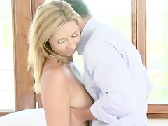 blonde lady gives a skilled dick sucking