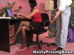whore inside pantyhose takes pissed into her part5