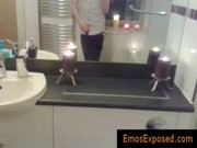 Emo redhead jerking his penis in the mirror gay