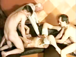 elderly obtains 4 men and is fisted