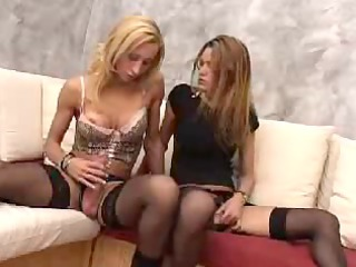 two european tgirls mm stroking two