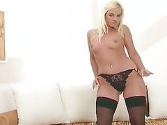 babe dressing on a underwear underwear and nylons