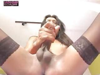 skinny ladyboy stroking her pole
