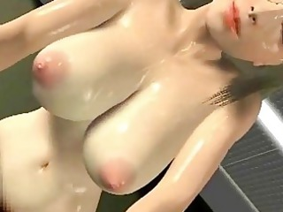 naughty animated slut drinking white cream