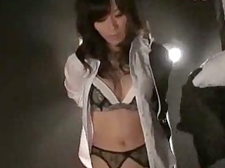 asian chick into sexy stockings giving fellatio