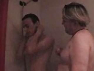plump gay bangs his fresh partner under shower