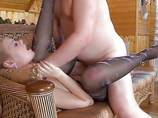 amateur blonde in nylons obtains slammed by