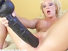 brutal sex toy gaping a albino young pussy