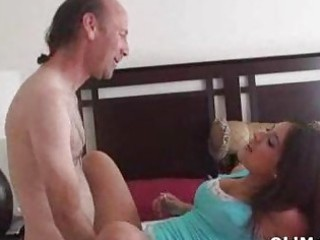 granny boy bangs pretty amateur inside bedroom