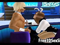 two sexy 3d cartoon hotties sharing a difficult