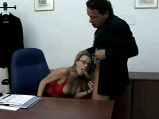 blonde workplace babe chews on his rod, gets