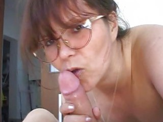 filthy amp into glasses licking tasty penis