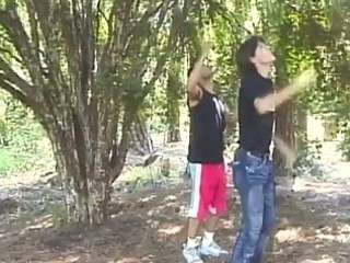 mixed gay fuck into a forest