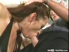 big boobed slut inside latex gets gang-banged