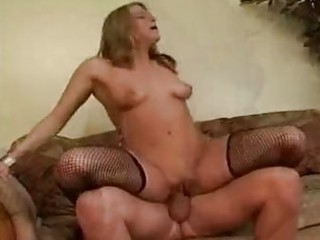 albino with large bossom into fishnet nylons