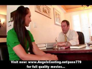 work interview with innocent brunette doing