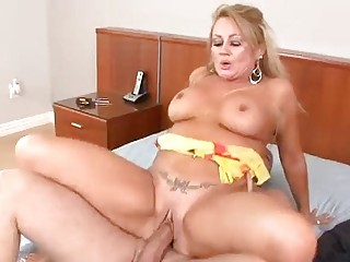 cougar blond worships his awesome cumshots