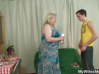lady busts her boy piercing giant elderly