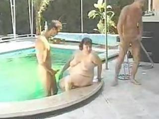 bbw gang-banged sloping swimming-pool by 2 fuckers
