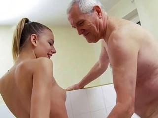 charming amateur gangbanging with naughty grandpa