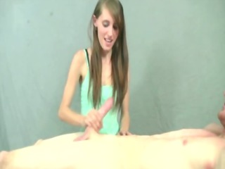 petit angel gives a handjob to eager guys uneasy