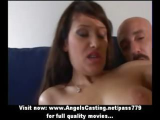 gorgeous brunette young woman doing fellatio and
