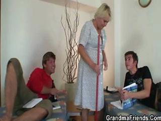 elderly cleaning girl gets two uneasy  cocks