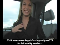 busy elegant babe with blonde hair does blowjob