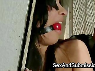 strapped naughty brunette angel gang-banged into