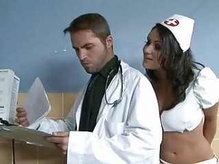 naughty brunette doctor inside blac thin takes