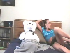 a lady and her teddy bear