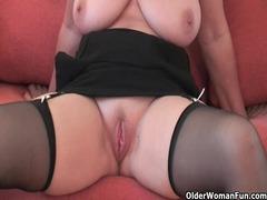 impressive grandma in stockings demonstrates her