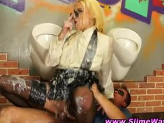 bukkake drenched gloryhole chick acquires banged