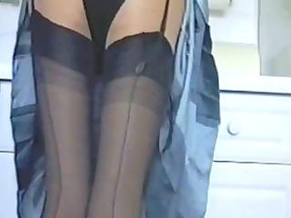 dining room inside brown satin panties